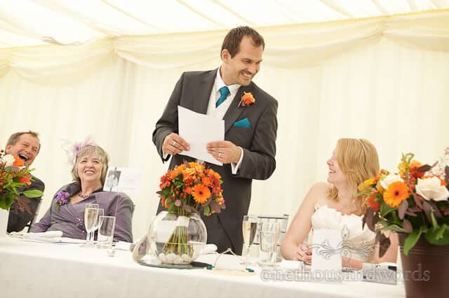 wedding speeches at Sherborne Castle wedding marquee