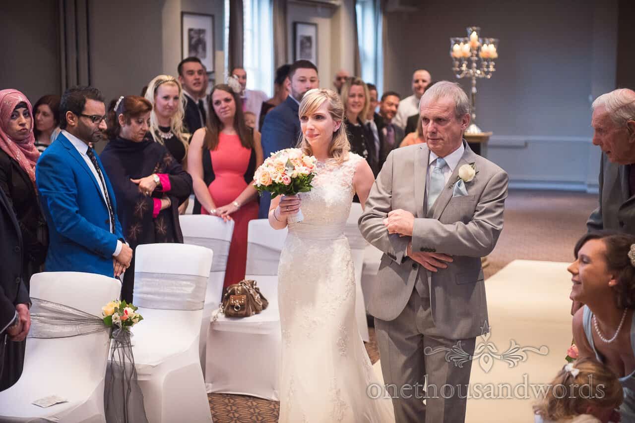 Father walks bride down aisle at Warbrook House
