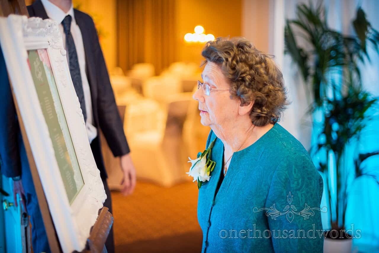 Granny with wedding table plan at Warbrook House