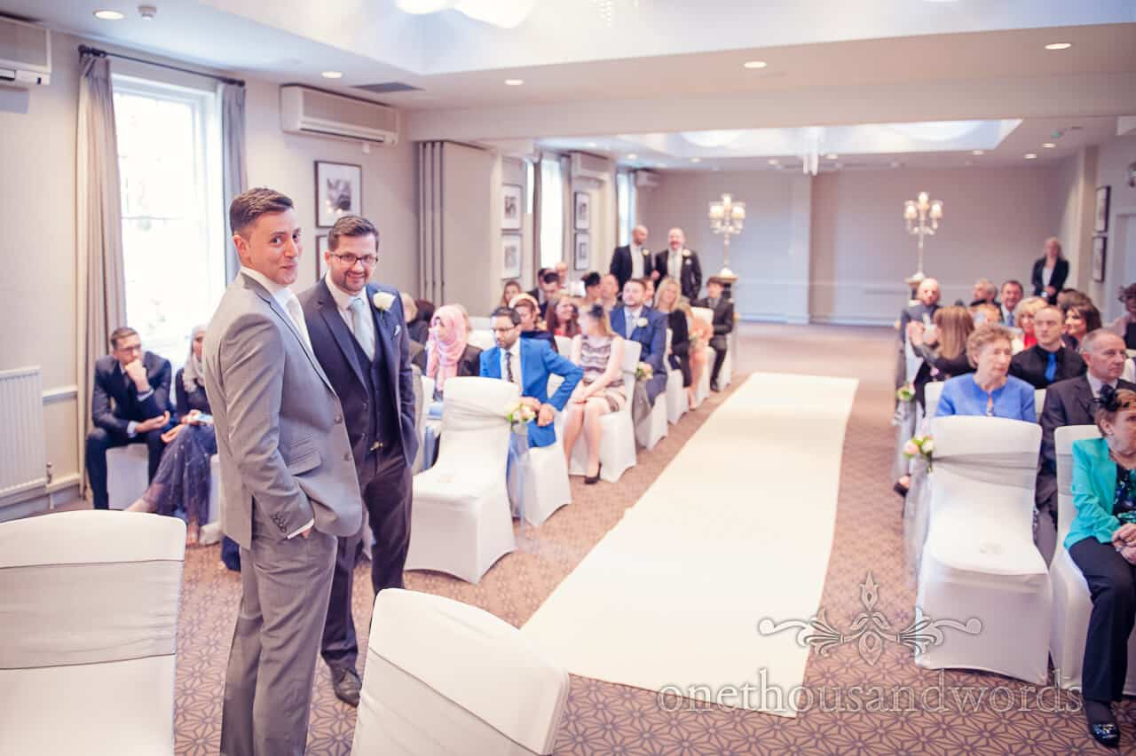 Groom waits for bride at Warbrook House