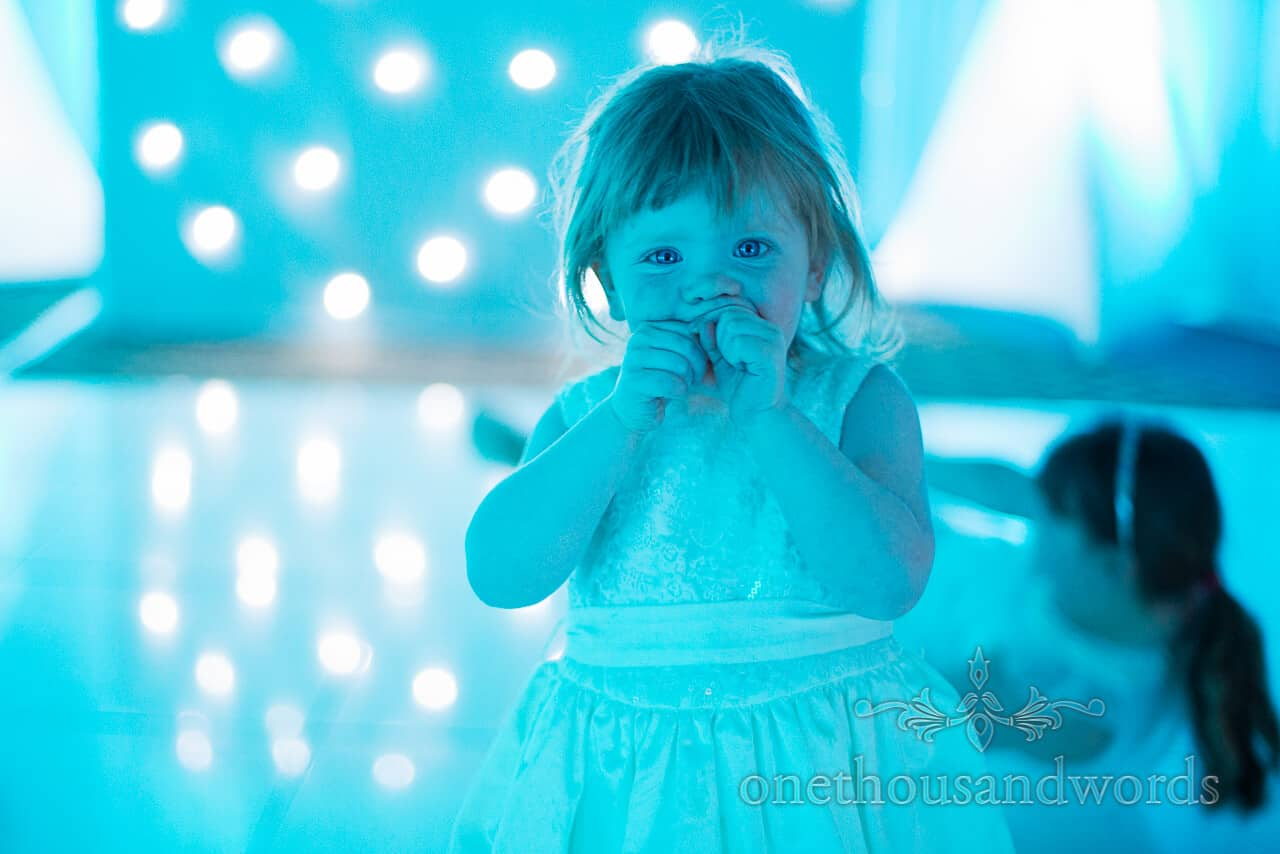 flower girl on Warbrook House wedding dancefloor