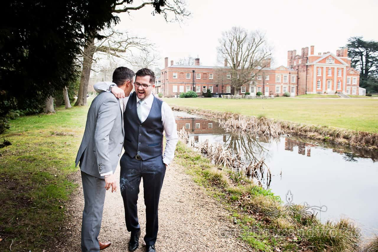 groom and best man at Warbrook House wedding photographer