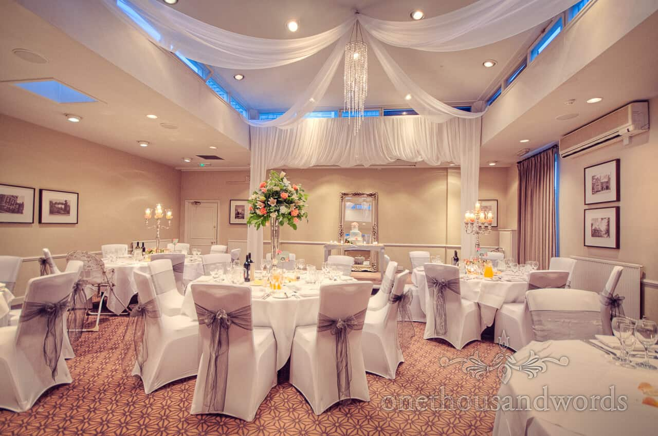 wedding breakfast room at Warbrook House