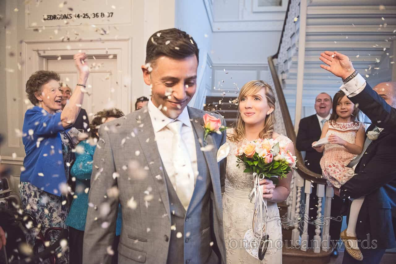 Warbrook House wedding confetti photograph