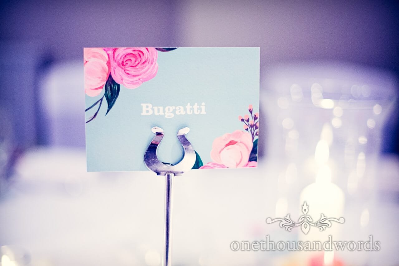 Bugatti Car wedding table name