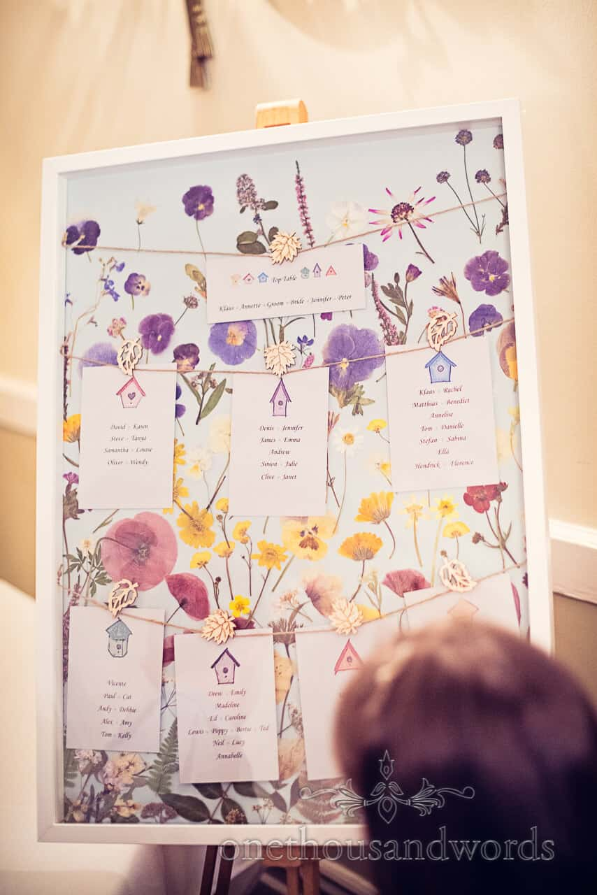 Pressed flower wedding table plan
