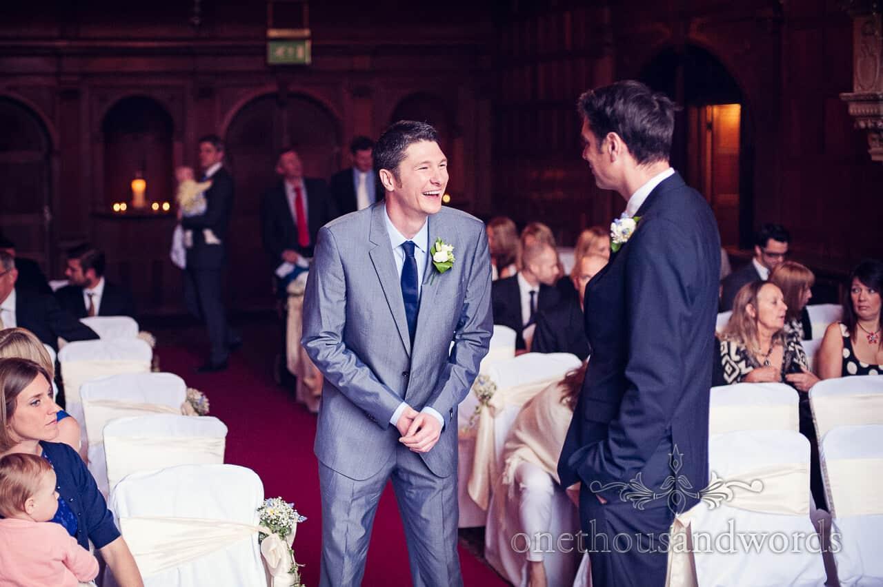 Rhinefield House groom laughing