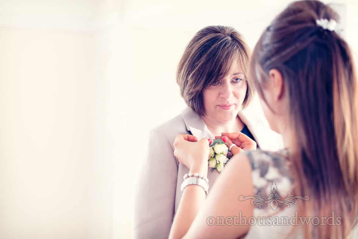 mother of the bride corsage at purbeck wedding photographs