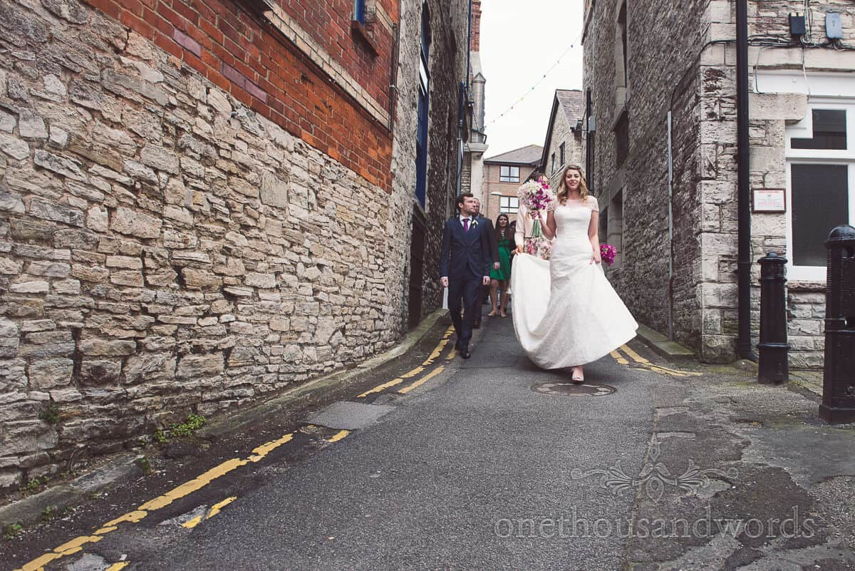 bride walks from Swanage registry office