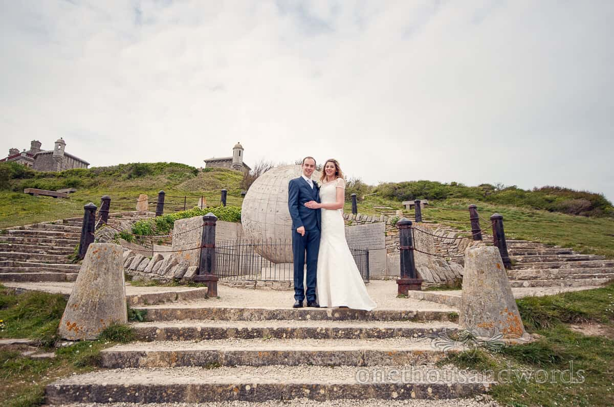 Purbeck wedding photographs at Durlston Castle stone globe