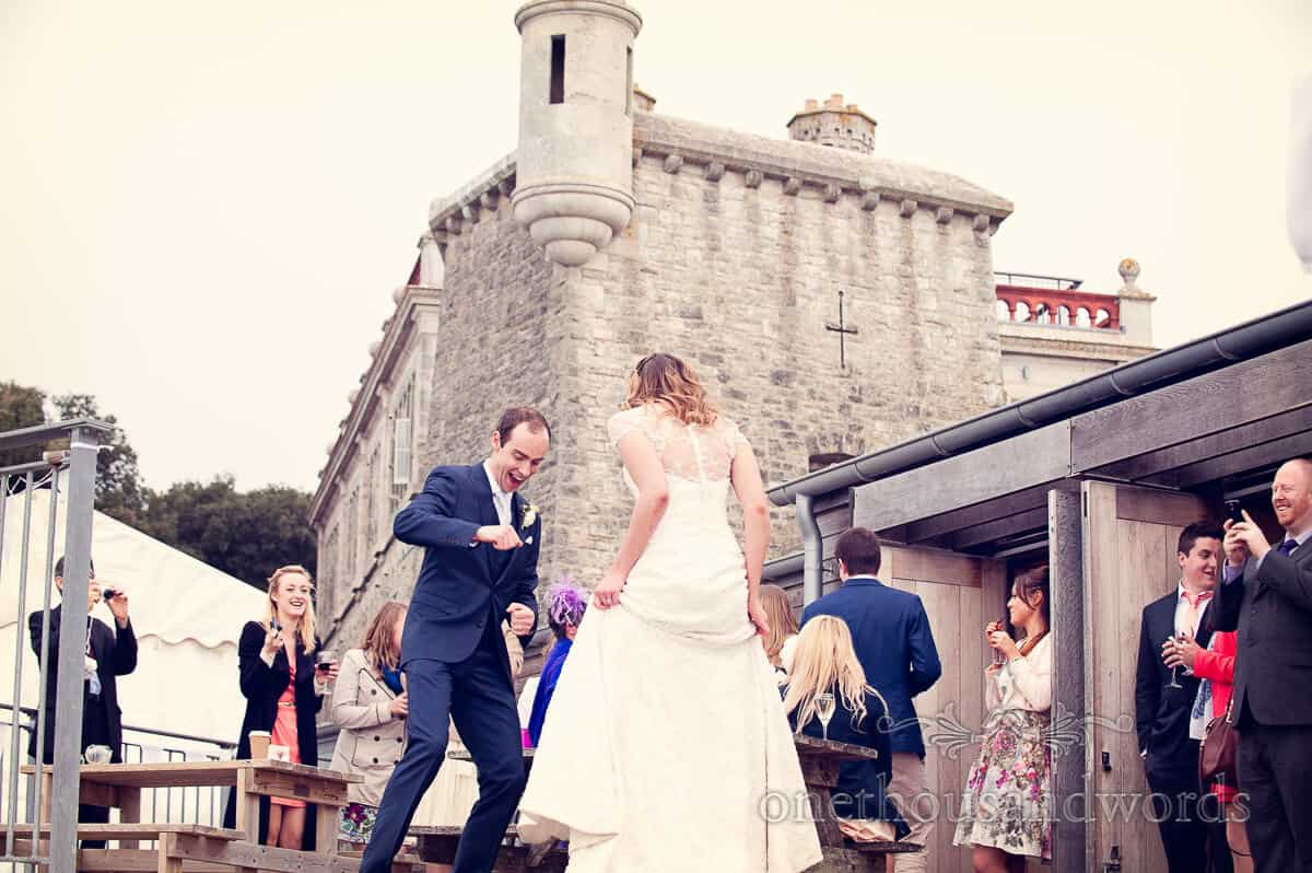 Purbeck wedding photographs at Durlston Castle wedding reception