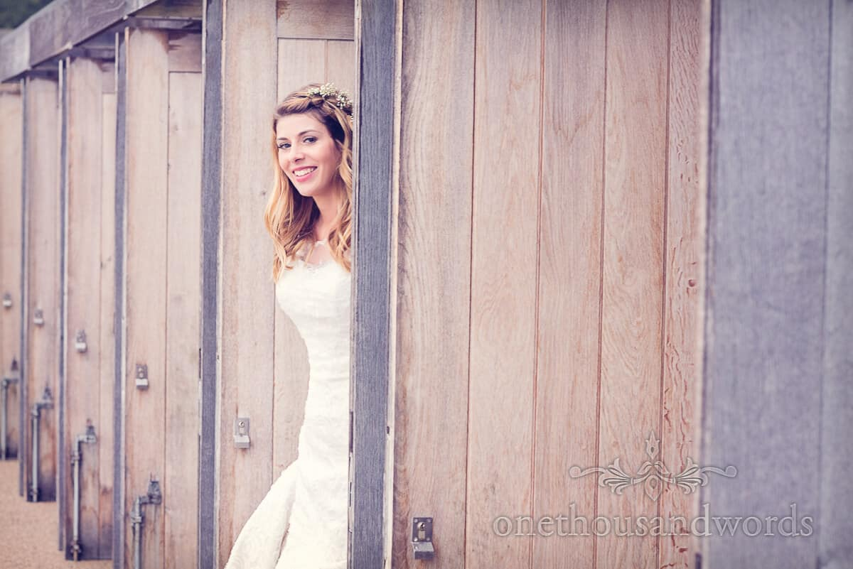 Purbeck wedding photographs bride portrait at Durlston Castle wedding