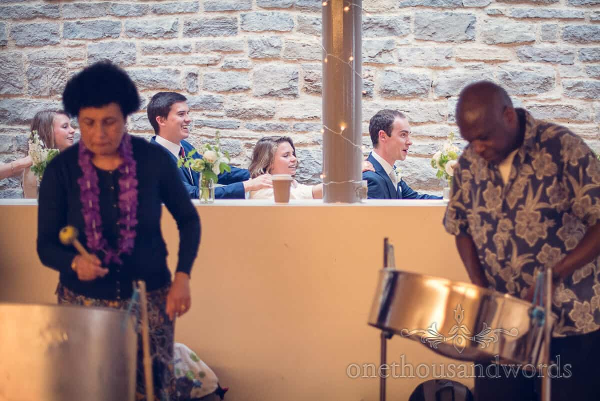 Durlston Castle wedding Steel Band and Conga line