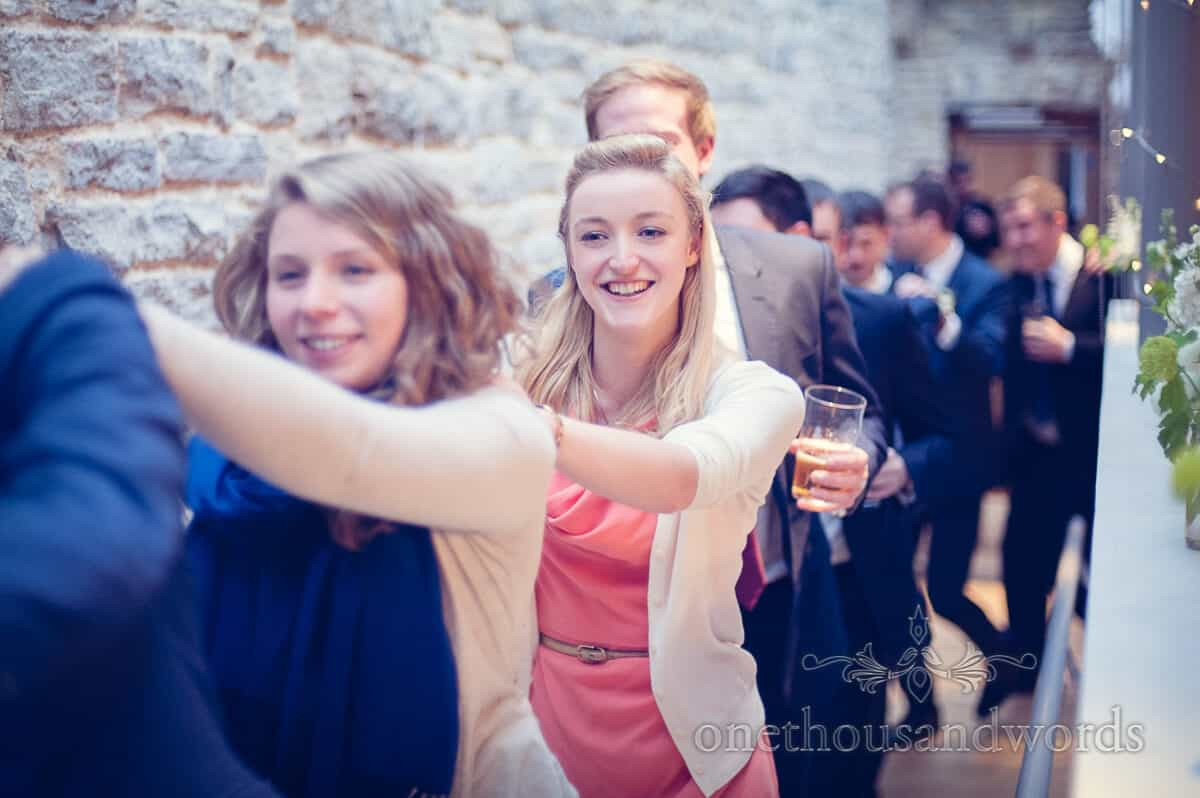 purbeck wedding photographs conga line