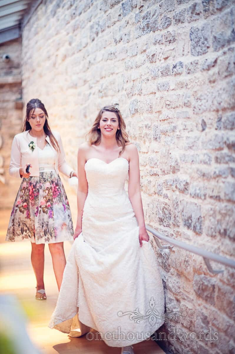 bride and bridesmaid at Durlston Castle wedding venue