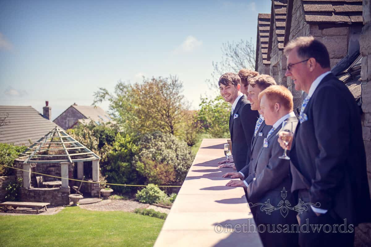 Groom and Groomsmen at family home in Dorset