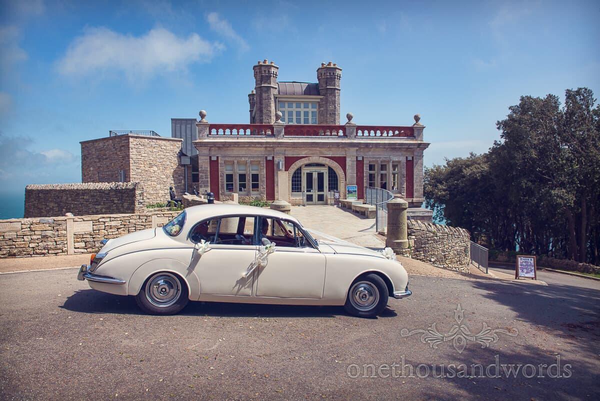 wedding car at Durlston Castle wedding venue