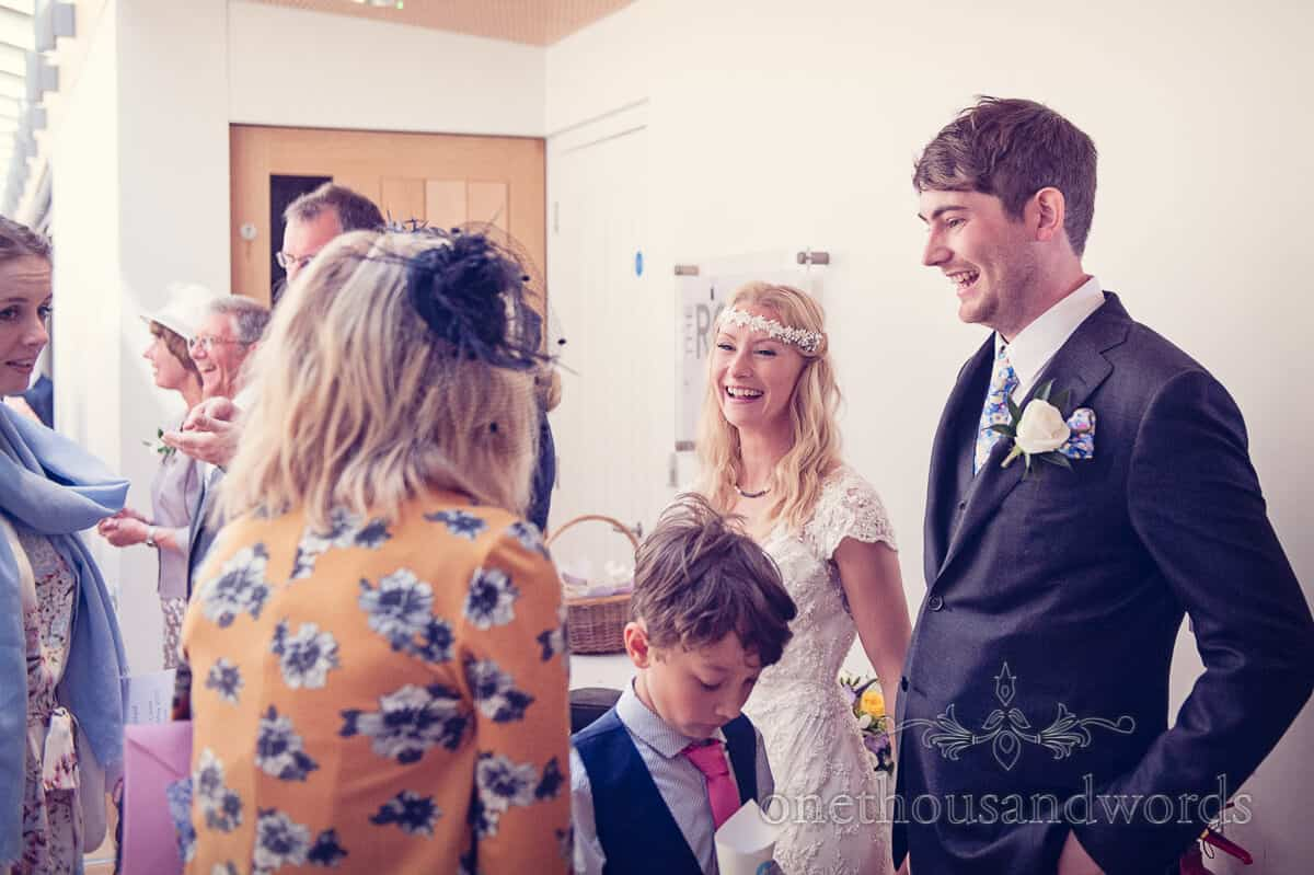 wedding greeting line up at Durlston Castle