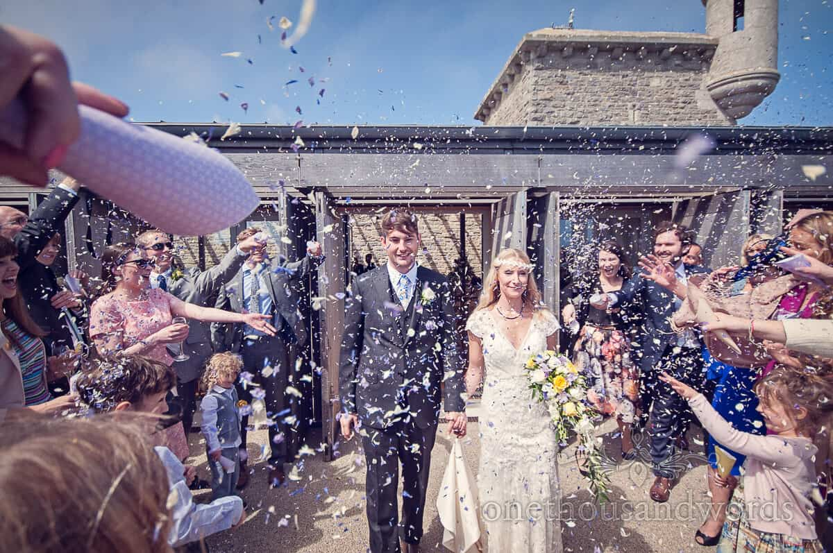 wedding confetti photograph at Durlston Castle