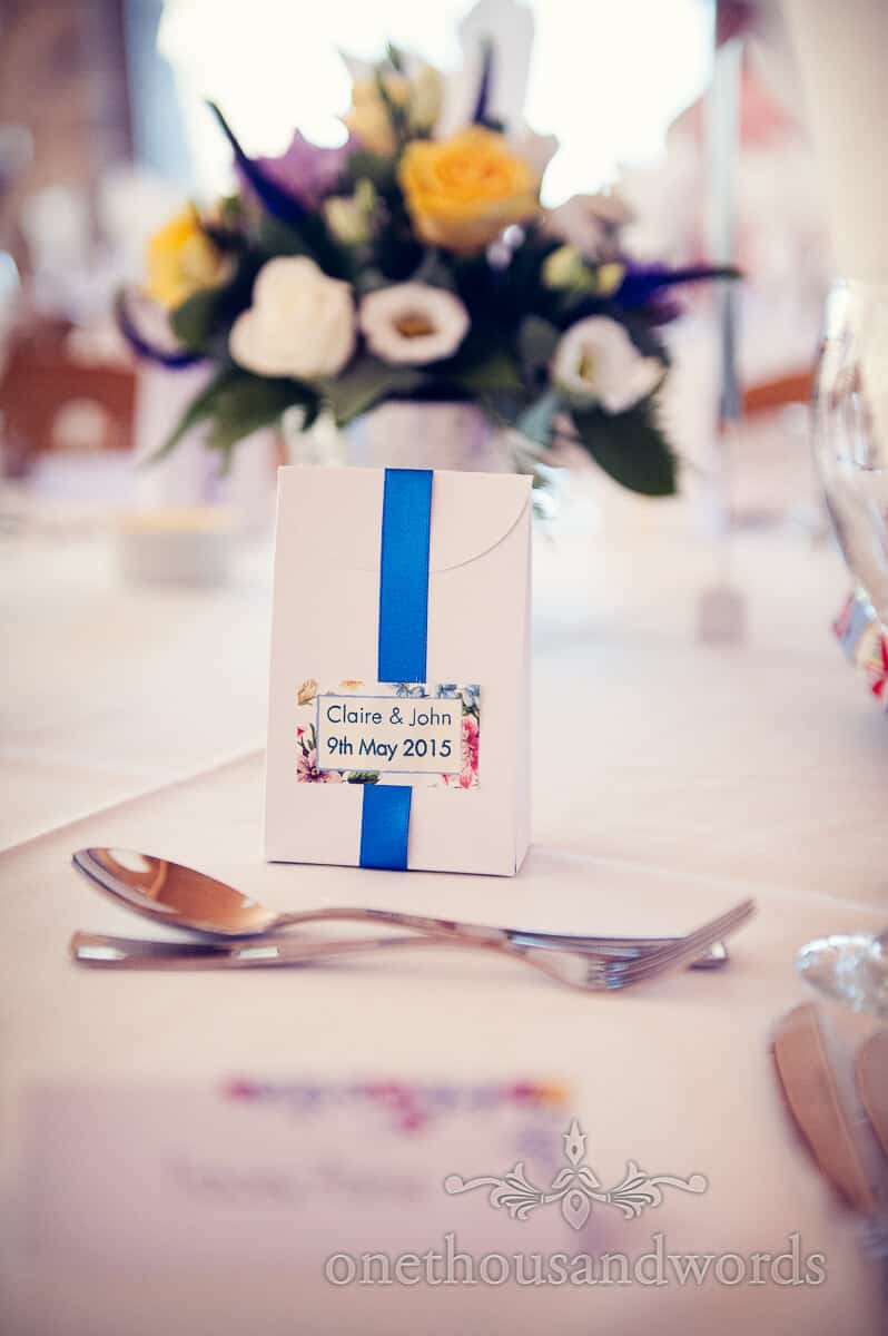 wedding favours with blue ribbon