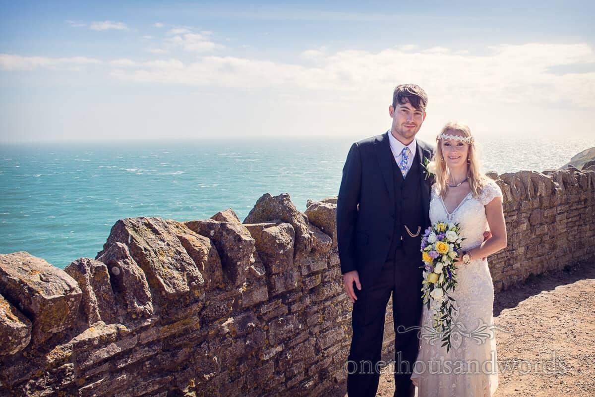 Wedding couple portrait on Dorset coastal path