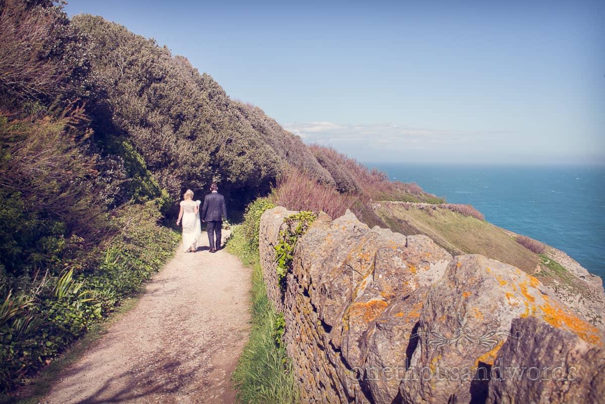 wedding couple on Dorset coastal path