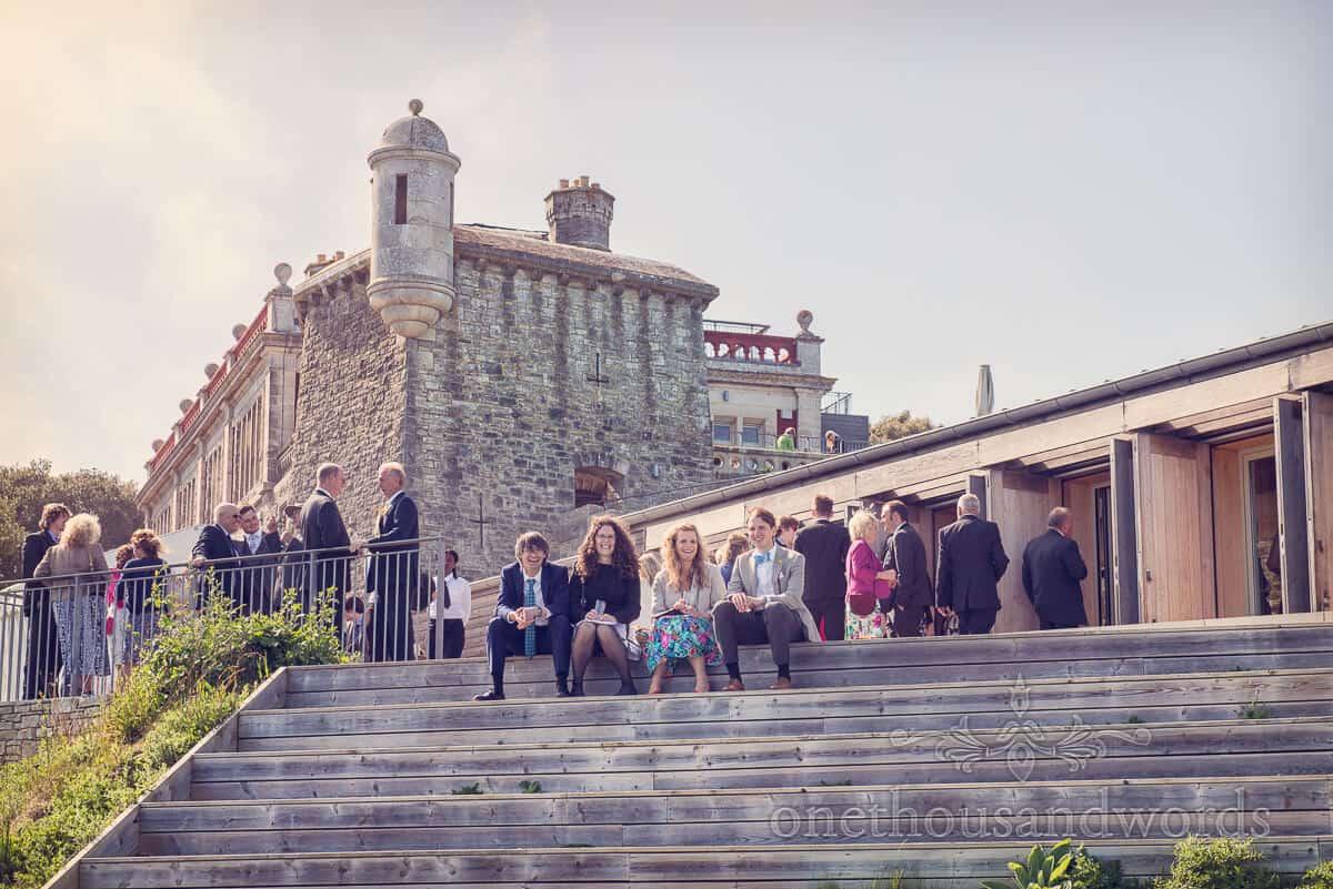 Durlston Castle wedding venue sun terrace