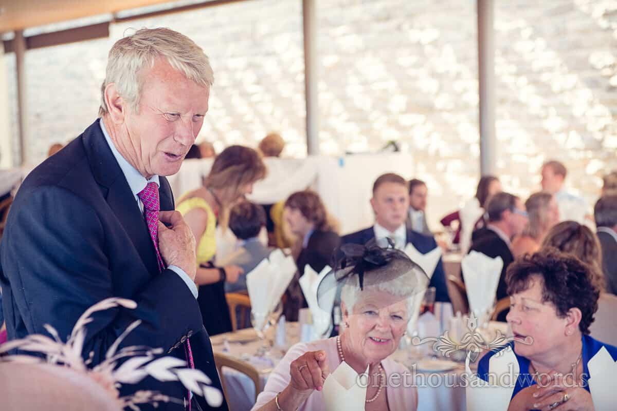 wedding guest at Durlston Castle wedding breakfast