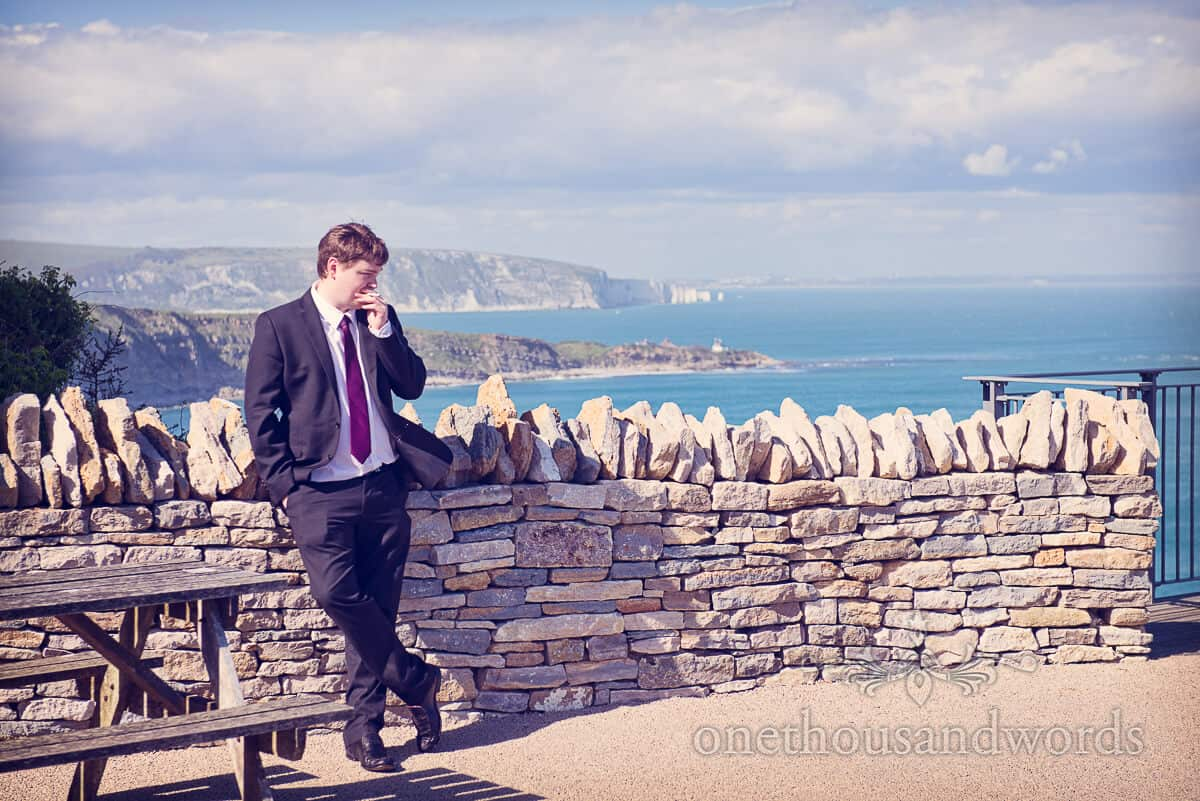 Durlston Castle sea view with wedding guest