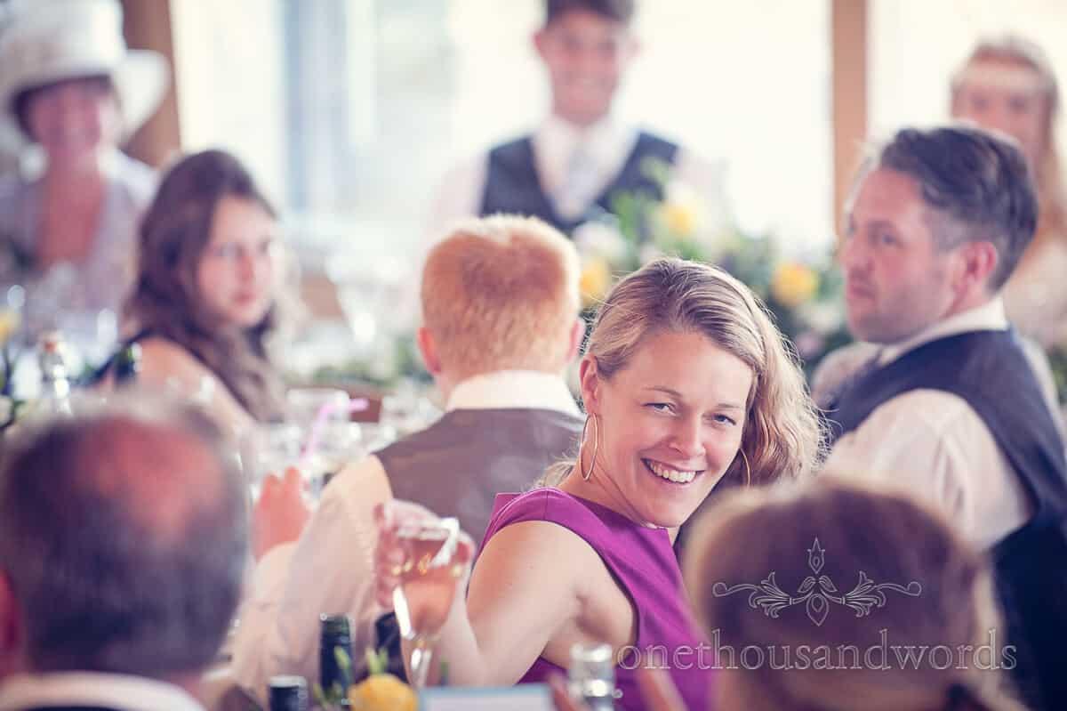 beautiful wedding guest portrait at Swanage wedding
