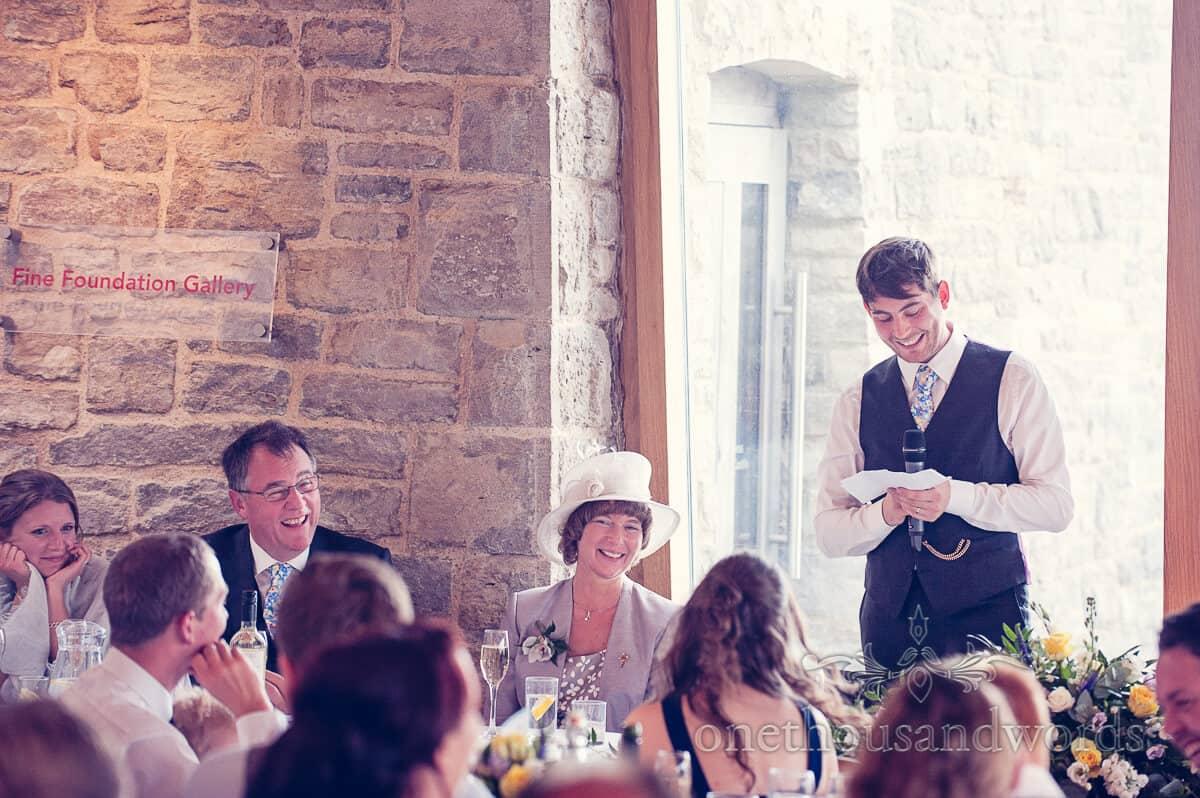 grooms wedding speech at Durlston Casle Swanage