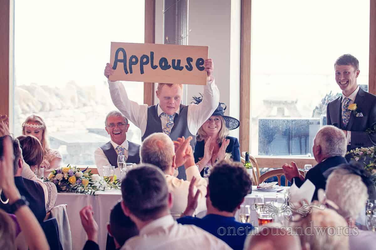 wedding speeches applause sign at Durlston Castle