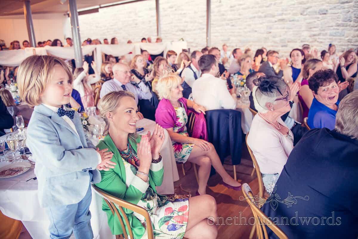swanage wedding photographs speeches at Durlston Castle