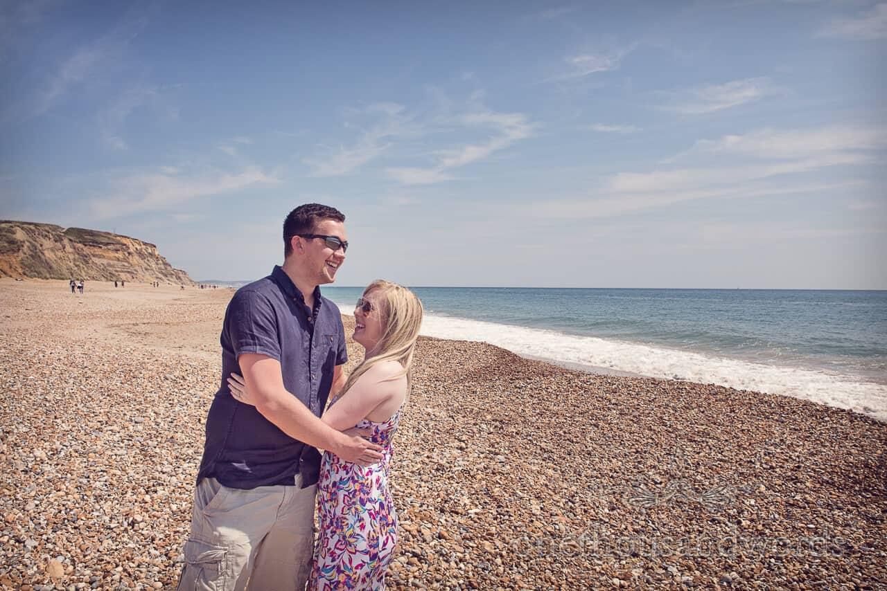 Engagement couple on Hengistbury Head beach