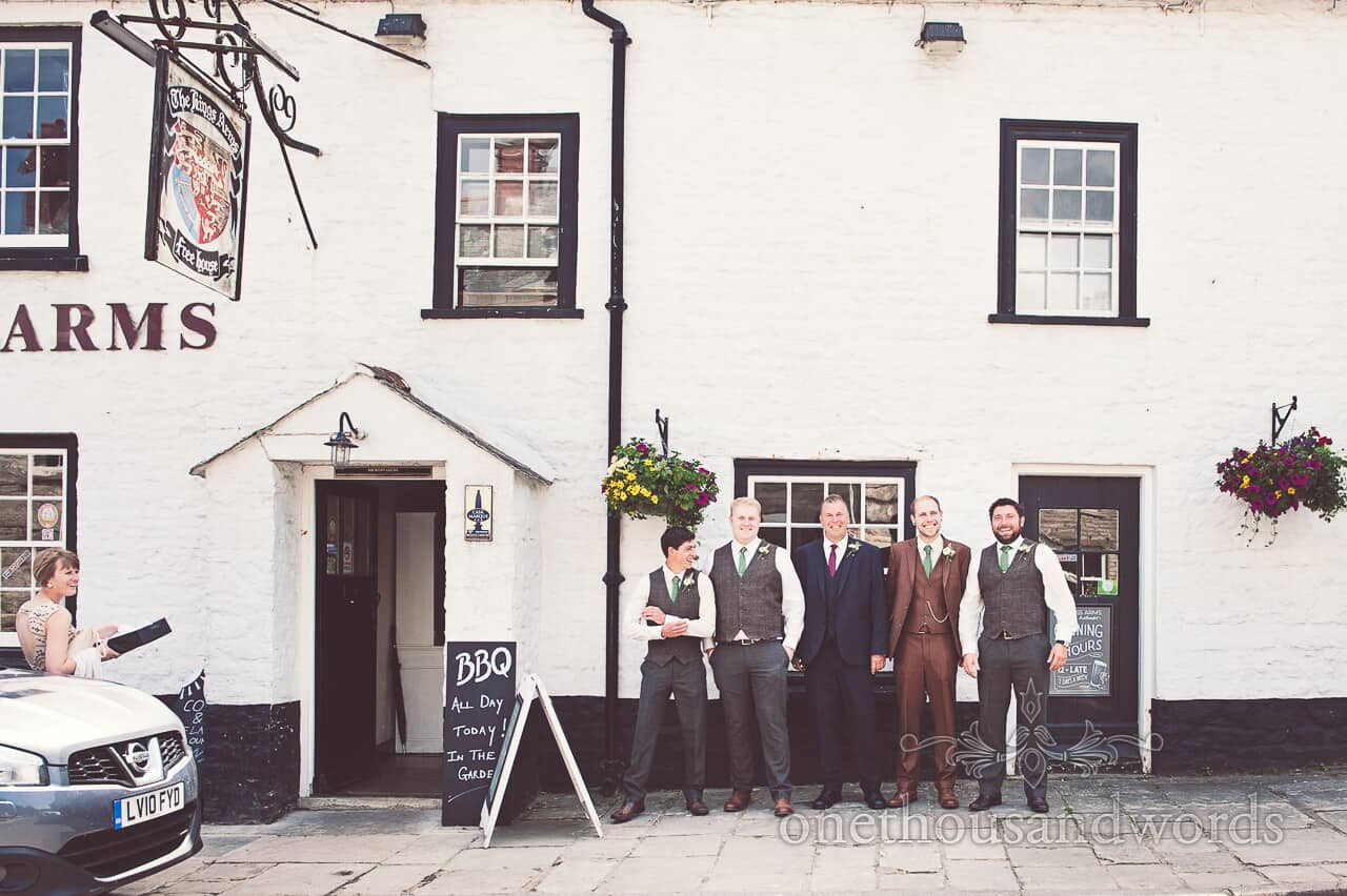 Groom and Groomsmen outside country pub