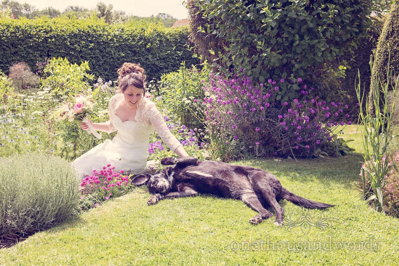 Country wedding photographs fower garden bride plays with dog