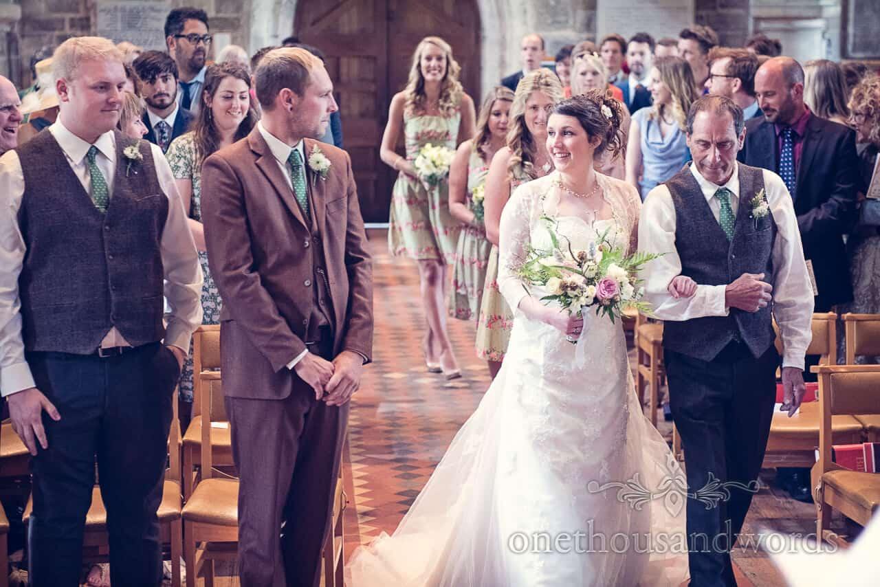 Bride walks down the aisle at Country Church Wedding