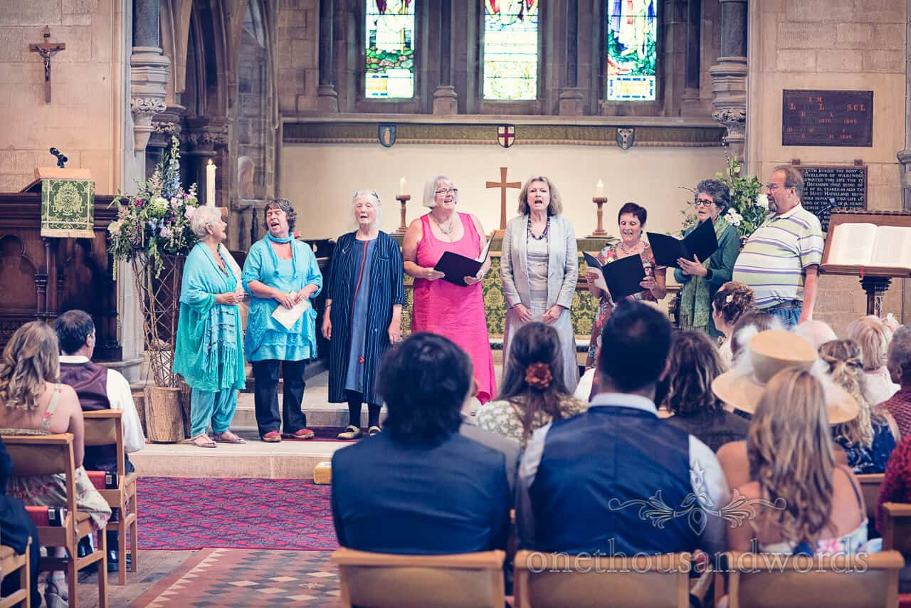 Wedding choir with mother of the bride at Church wedding