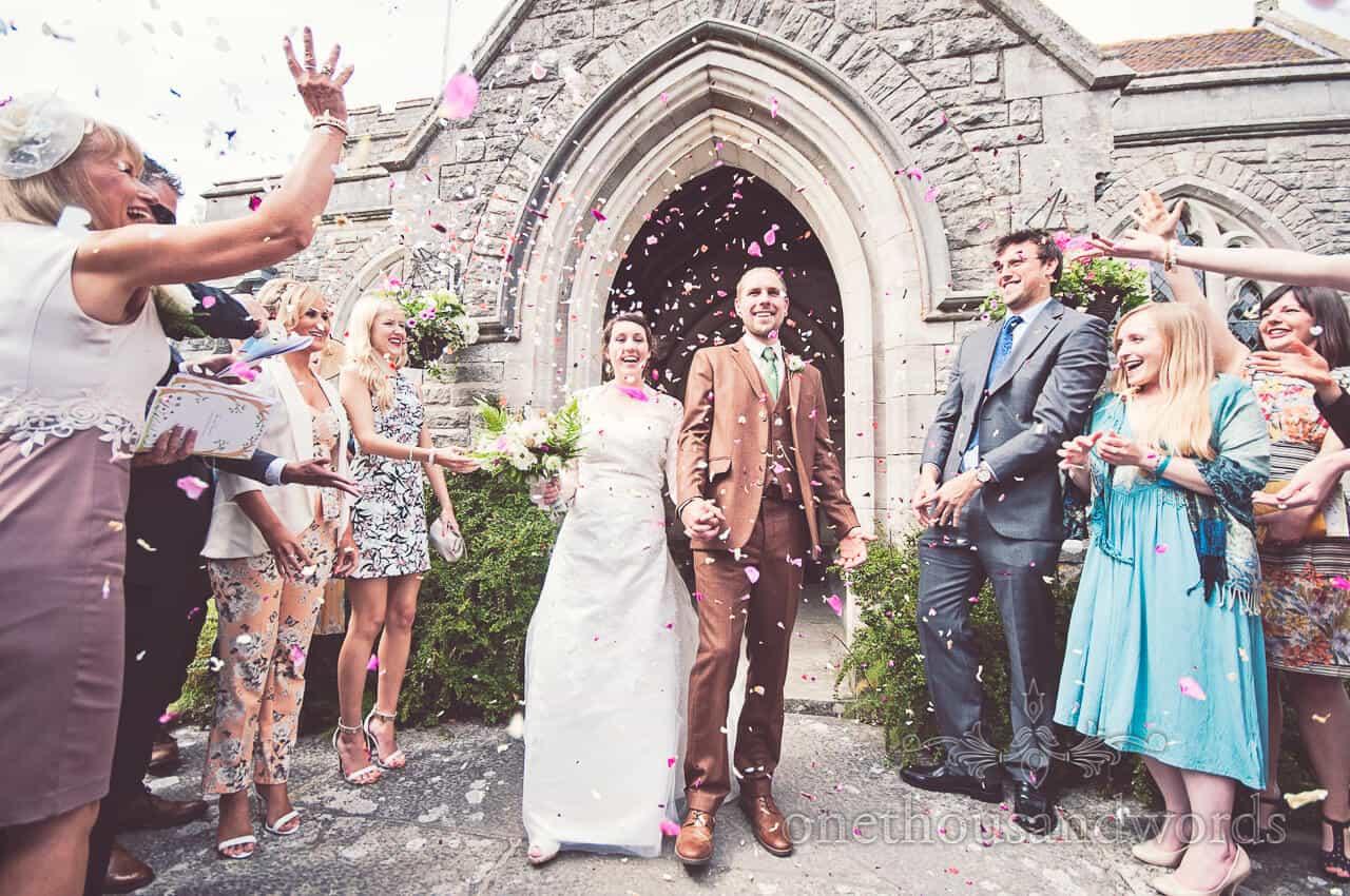 Confetti at country church wedding in Dorset