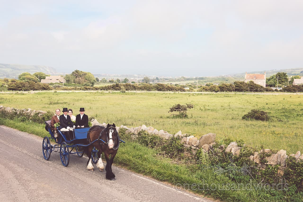 Country wedding photographs of Horse and Cart