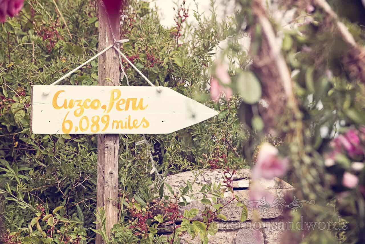 wedding honeymoon destination sign