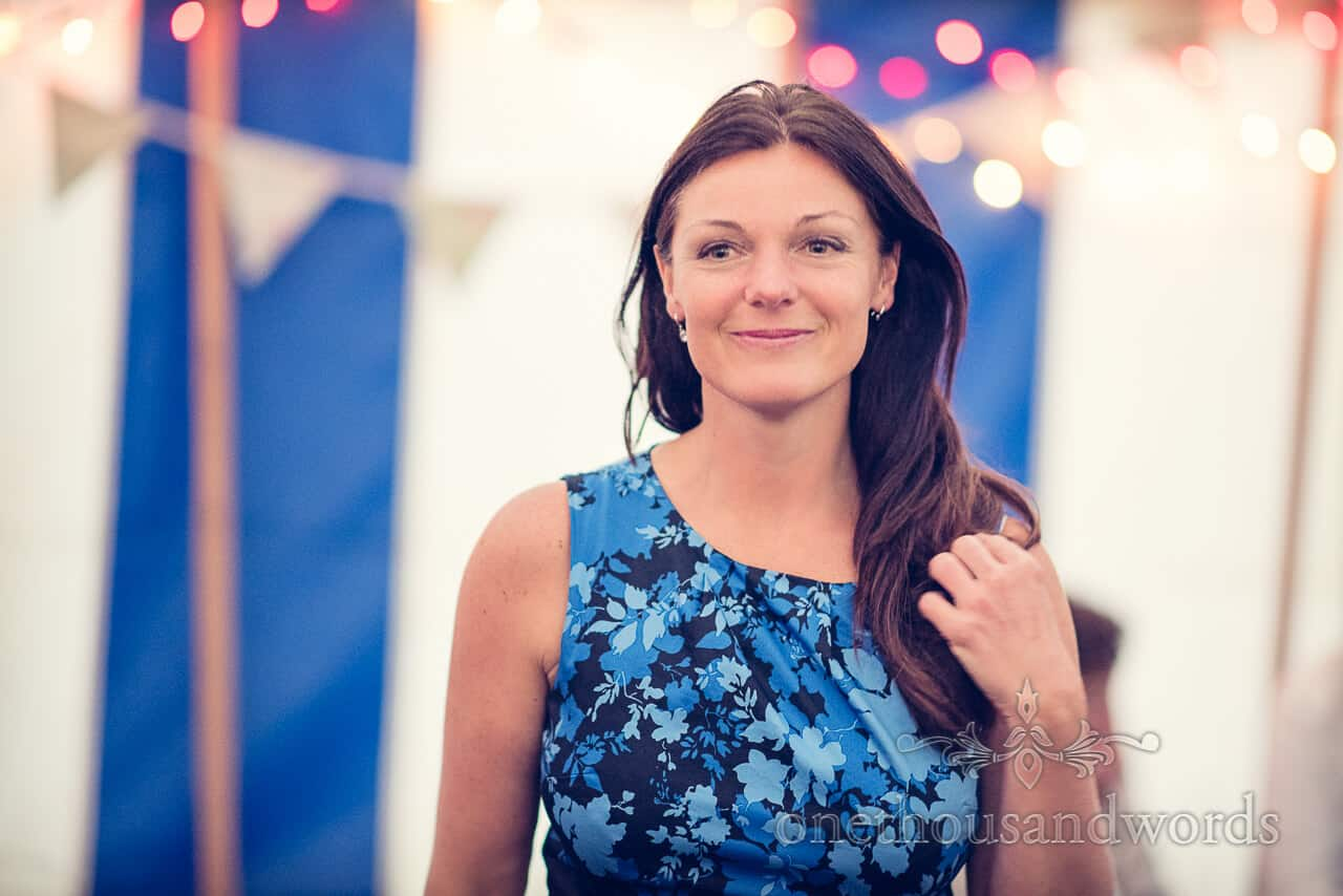 wedding guest portrait with bunting and festoon lights