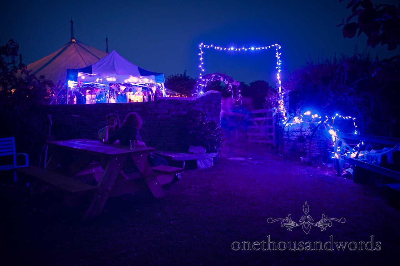country wedding photographs of garden lighting at night