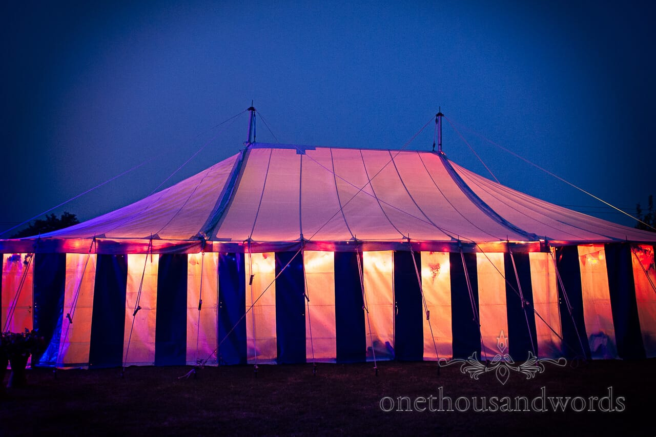 country wedding photographs of glowing wedding marquee at night