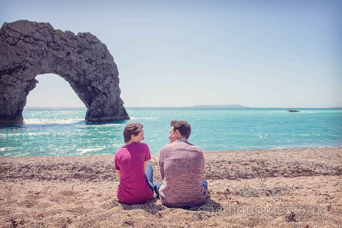 Durdledoor engagement photographs-sat on the beach