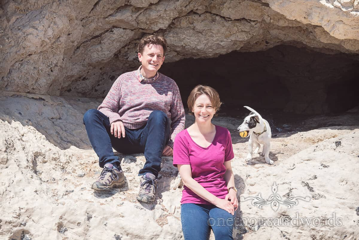 engagment photoshoot with dog and cave