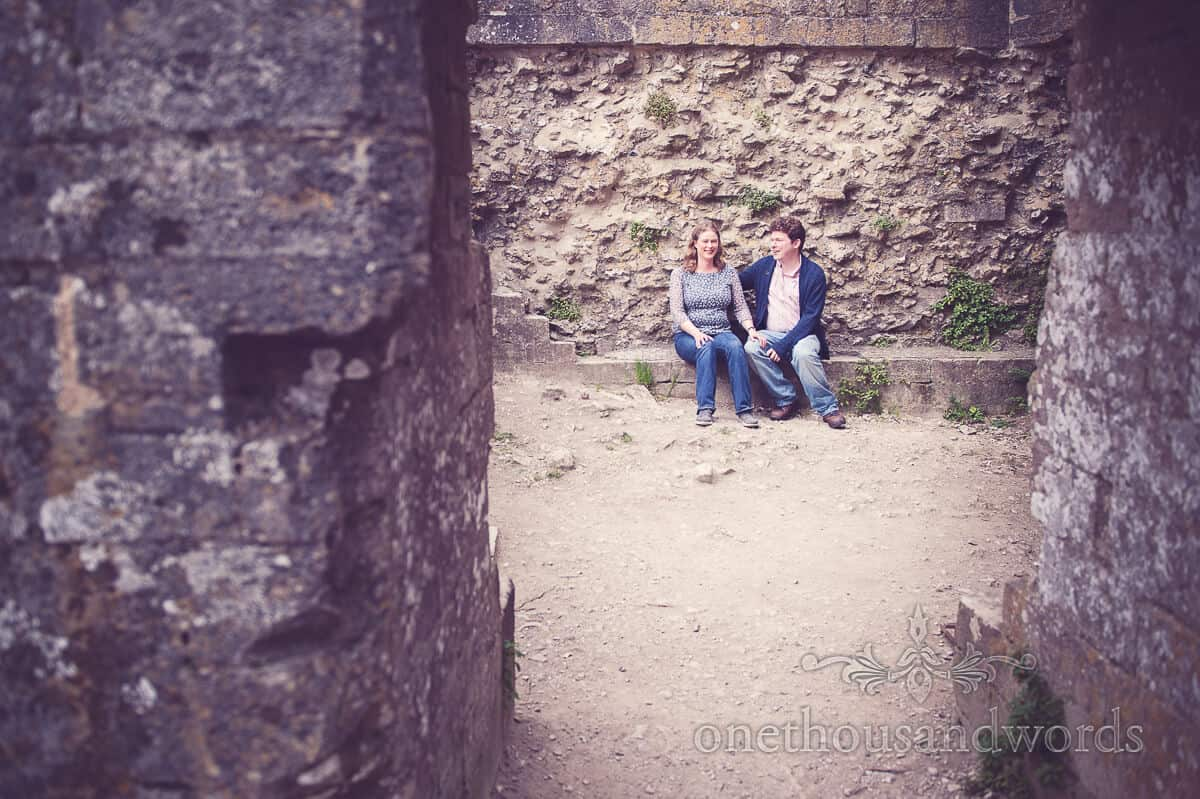engagment photograph at Corfe Castle in Dorset
