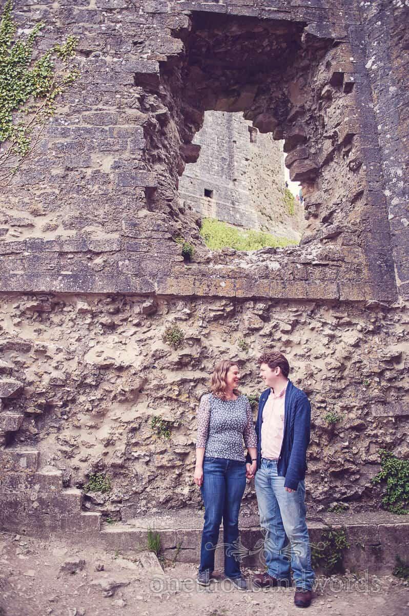 Corfe Castle ruins engagment photo shoot