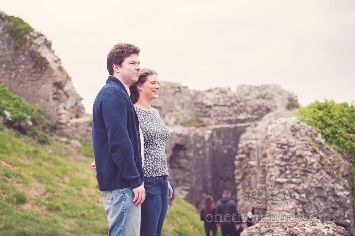 Corfe Castle engagement couple photographs