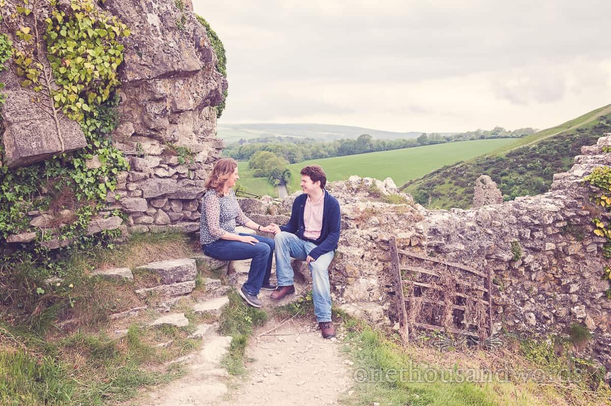 corfe castle engagment photo shoot couple